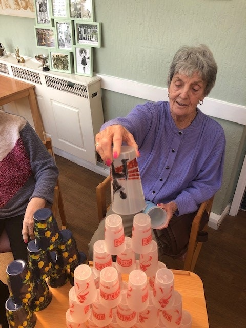 Stacking cups in care home for blog